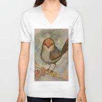 luigi V-neck T-shirts featuring Luigi bird by Sam Wallis Illustration