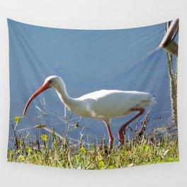 White Ibis Stalking Dinner Wall Tapestry