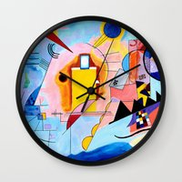 kandinsky Wall Clocks featuring Yellow Red Blue - Tribute to Kandinsky by ArtvonDanielle