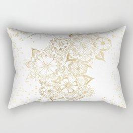 Hand drawn white and gold mandala confetti motif Rectangular Pillow