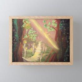 Faery forest cave Framed Mini Art Print
