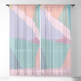 Fractured Triangles in Playful Color Sheer Curtain