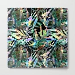 Tropical pattern.2 Colorful leaves on black Metal Print