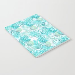 Turquoise Palm Leaves and Pineapples on Pink Notebook