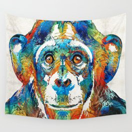 Colorful Chimp Art - Monkey Business - By Sharon Cummings Wall Tapestry
