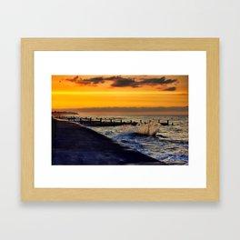 Ocean sunset at walcott Framed Art Print