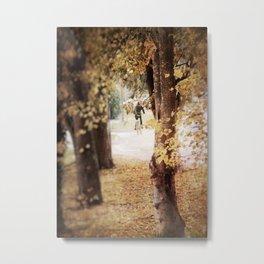 Autumn Cyclist Metal Print