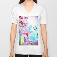 carousel V-neck T-shirts featuring carousel by Charlie L'amour
