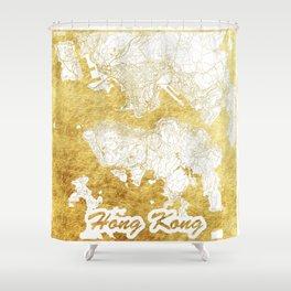 Hong Kong Map Gold Shower Curtain