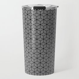 Isometric Weaved Cubes in Black and White Pattern - Graphic Design Travel Mug
