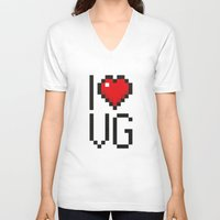video games V-neck T-shirts featuring PAUSE – I Love Video Games by PAUSE