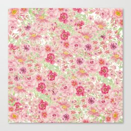 Pastel pink red watercolor hand painted floral Canvas Print