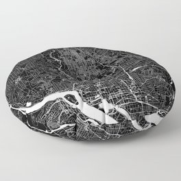 Washington D.C. Black And White Map Floor Pillow