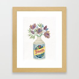 Flowers in a Vintage Beer Bottle Vase Framed Art Print