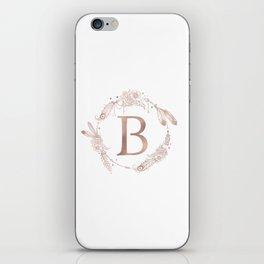 Letter B Rose Gold Pink Initial Monogram iPhone Skin
