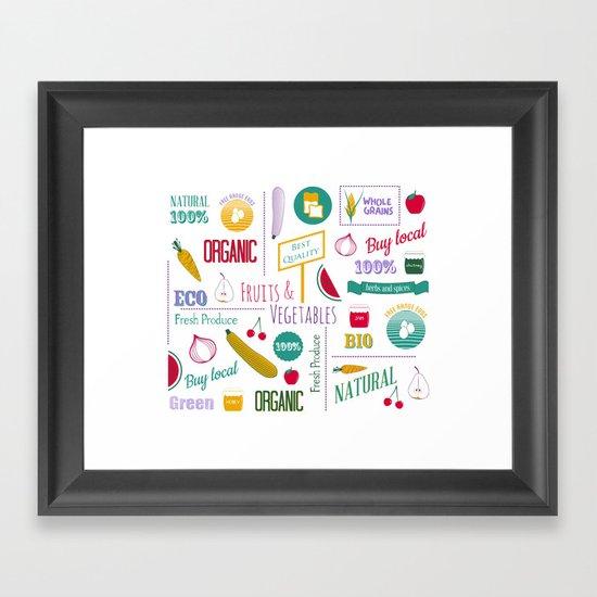 Farmers market pattern - white Framed Art Print