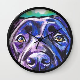 black Labrador Retriever Dog Pop Art by Lea Wall Clock