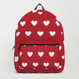 Polka Dot Hearts - red and white Backpack