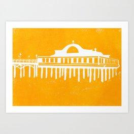 Seaside Pier in Yellow Art Print