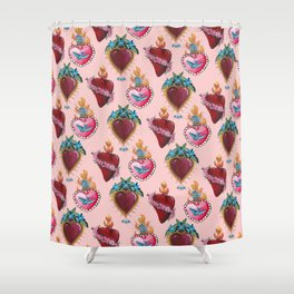 Sacred Hearts on pink  Shower Curtain