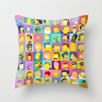 simpsons Throw Pillows featuring Simpsons by thev clothing
