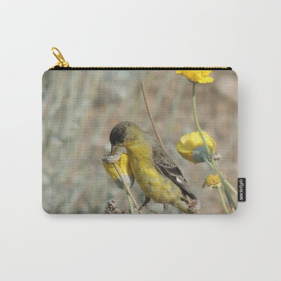 Mr. Lesser Goldfinch Feeds on Seeds Carry-All Pouch