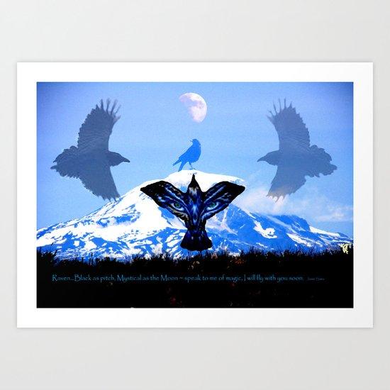 Raven Sky Mountain Art Print