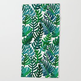Round Palm Blue Green Beach Towel