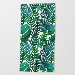 Round Palm Blue Green Beach Towel