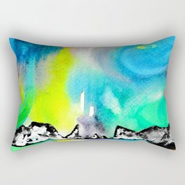 Northern Lights and Mountains Rectangular Pillow