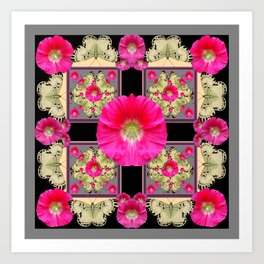 FUCHSIA PINK HOLLYHOCKS GREY & YELLOW BUTTERFLIES Art Print