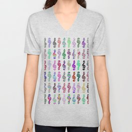 Whimsical colorful patterns classic music note clef Unisex V-Neck