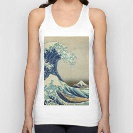 The Classic Japanese Great Wave off Kanagawa Print by Hokusai Unisex Tank Top
