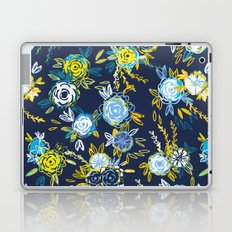 Flower Garden in Navy Neon Laptop & iPad Skin