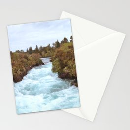 New Zealand Waterfall | Teal and Orange Edit Stationery Cards