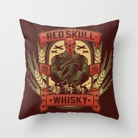 whisky Throw Pillows featuring Red Whisky by Corey Courts