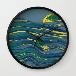 blue boat afloat  Wall Clock