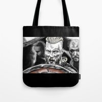 vikings Tote Bags featuring vikings by Flyens