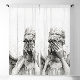 Weeping Angel Watercolor Painting Blackout Curtain