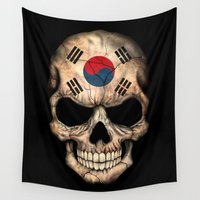 korea Wall Tapestries featuring Dark Skull with Flag of South Korea by Jeff Bartels