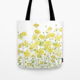 yellow buttercup flowers filed watercolor  Tote Bag
