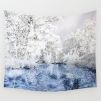 caleb troy Wall Tapestries featuring Frozen Beauty by Vargamari