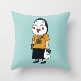 Joyful Girl Throw Pillow