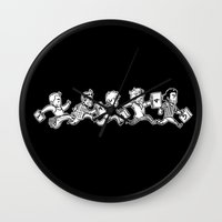 kendrawcandraw Wall Clocks featuring Five by kendrawcandraw