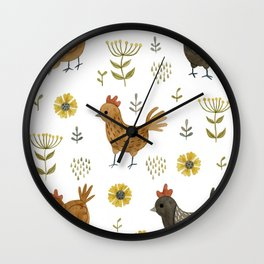 chicken floral Wall Clock
