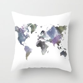 Watercolor World Throw Pillow