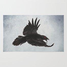 Black Crow Red Eyes and Sky Rug