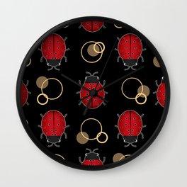 Cheerful ladybugs . Wall Clock