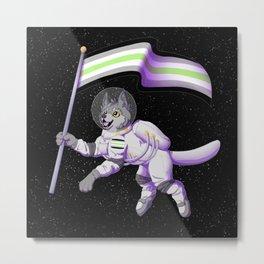 Agender Pride Space-Wolf Metal Print