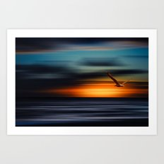 Flight into the sunset Art Print